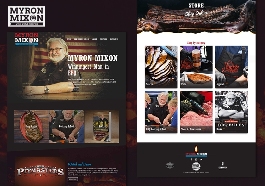 <p>Myron Mixon website design and development project screenshots</p>