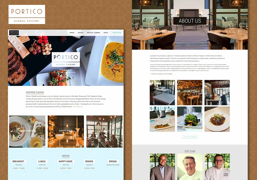 <p>Portico Global Cuisine website design and development project screenshots</p>