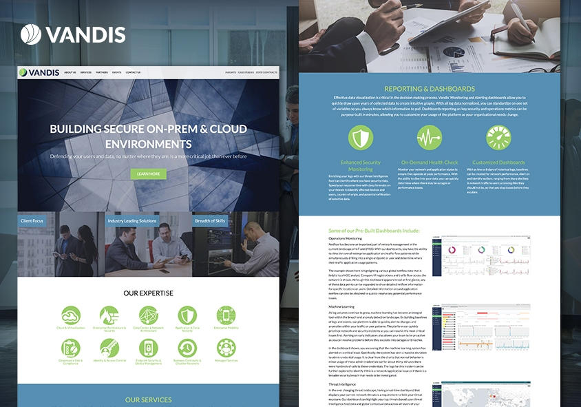<p>Vandis website design and development project screenshots</p>
