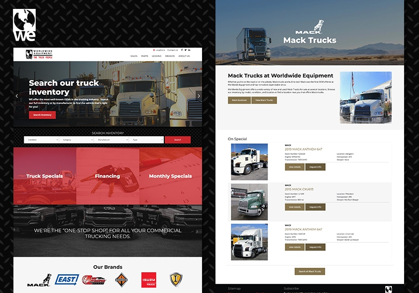 <p>Worldwide Equipment website design and development project screenshots</p>