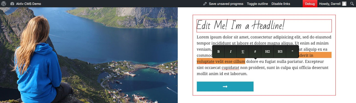 Example of Inline Editing in Wordpress