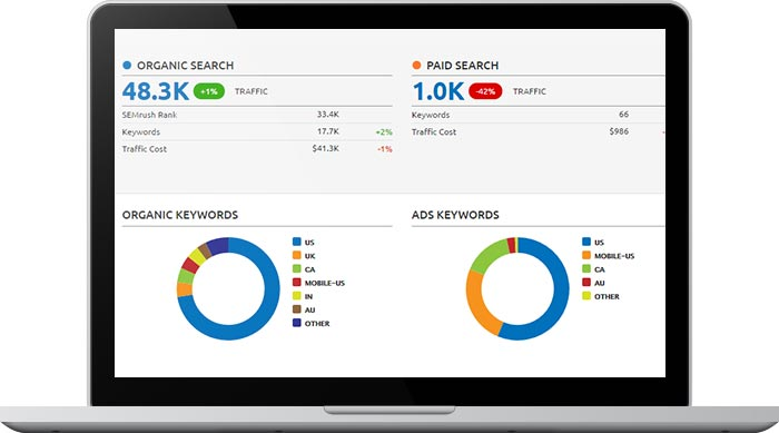 Website analytics for search engine optimization screen